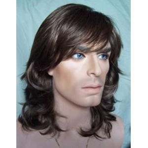 Trendy Black Brown Long Capless Side Bang Towheaded Wavy Heat Resistant Synthetic Wig For Men