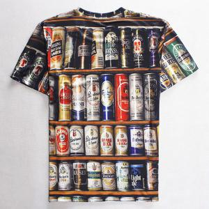 Round Neck 3D Beer Print Slimming Short Sleeve Men's T-Shirt -