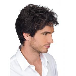 Handsome Short Capless Shaggy Wavy Side Bang Heat Resistant Synthetic Wig For Men - Black