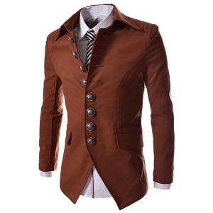 Modish Slimming Turndown Collar Single Breasted Long Sleeve Cotton Blend Blazer For Men - Brown - 2xl
