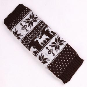 Pair of Chic Snowflake and Deer Pattern Knitted Leg Warmers For Women