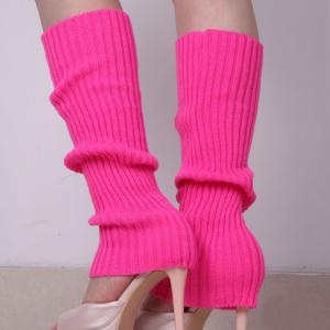 Pair of Chic Candy Color Knitted Leg Warmers For Women