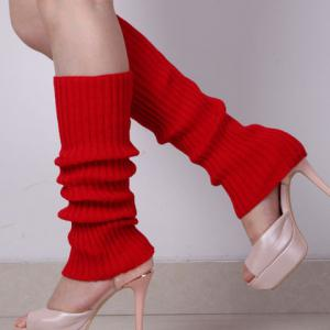 Pair of Chic Candy Color Knitted Leg Warmers For Women -