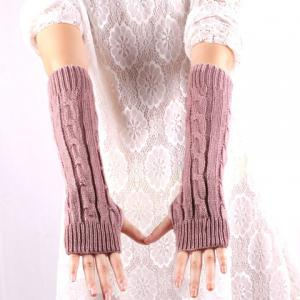 Pair of Chic Solid Color Hemp Flower Knitted Fingerless Gloves For Women -