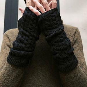 Pair of Chic Solid Color Hemp Flower Knitted Fingerless Gloves For Women - COLOR ASSORTED