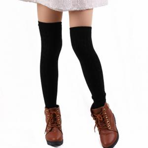 Pair of Chic Hemp Flower Jacquard Solid Color Knitted Stockings For Women - COLOR ASSORTED