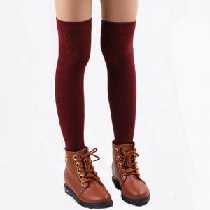 Pair of Chic Hemp Flower Jacquard Solid Color Knitted Stockings For Women - Color Assorted - One Size