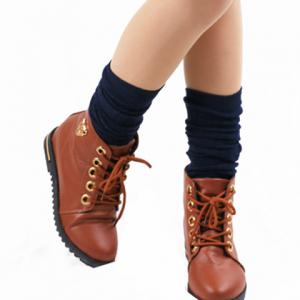 Pair of Chic Hemp Flower Jacquard Solid Color Knitted Stockings For Women -