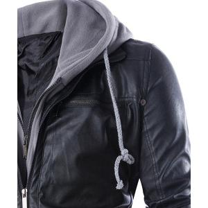 Hooded Faux Twinset Rib PU Leather Jacket - BLACK XL