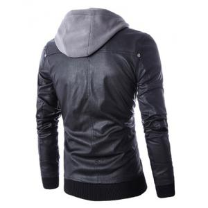 Hooded Faux Twinset Rib PU Leather Jacket -