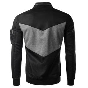 Modish Fitted Stand Collar Color Block Splicing Zipper Design Long Sleeve Polyester Jacket For Men -