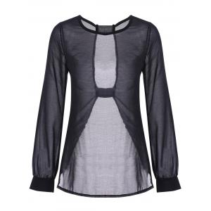Sexy Round Neck Long Sleeve Black Cut Out Women's T-Shirt