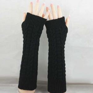 Pair of Chic Braid Shape Embellished Long Knitted Fingerless Gloves For Women - COLOR ASSORTED