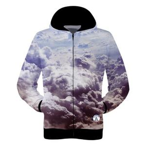 Trendy Fitted Hooded 3D Clouds Pattern Long Sleeve Cotton Blend Hoodie For Men -