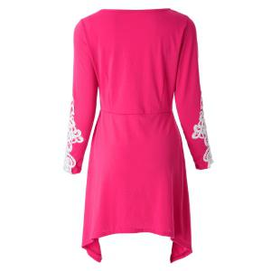 Casual Scoop Neck Long Sleeve Lace Splicing Loose Fitting Dress For Women - ROSE S