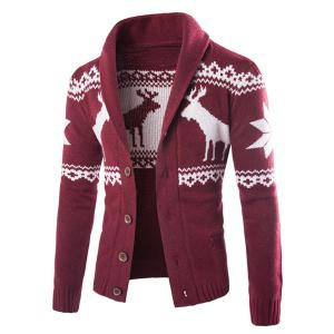 Christmas Snowflake Fawn Jacquard Button Up Cardigan - Wine Red - M