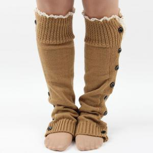 Pair of Chic Lace Edge and Buttons Embellished Knitted Leg Warmers For Women