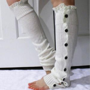 Pair of Chic Lace Edge and Buttons Embellished Knitted Leg Warmers For Women - COLOR ASSORTED