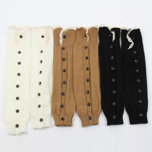Pair of Chic Lace Edge and Buttons Embellished Knitted Leg Warmers For Women -