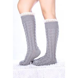 Pair of Chic Lace Edge Hemp Flower Knitted Stockings For Women