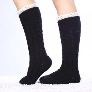 Pair of Chic Lace Edge Hemp Flower Knitted Stockings For Women - COLOR ASSORTED