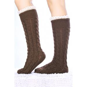 Pair of Chic Lace Edge Hemp Flower Knitted Stockings For Women -
