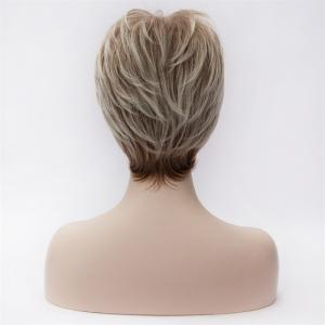 Charming Ombre Synthetic Short Fluffy Natural Wavy Spiffy Full Bang Capless Wig For Women -