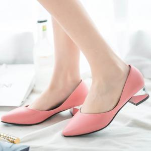 Concise Solid Colour and PU Leather Design Women's Pumps -