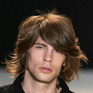 Stylish Inclined Bang Medium High Temperature Fiber Deep Brown Capless Fluffy Wavy Wig For Men