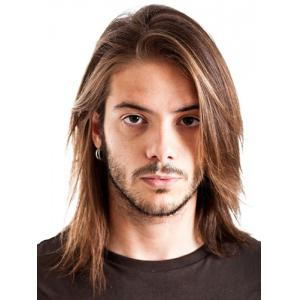 Attractive Medium Capless Blonde Mixed Brown Straight Synthetic Inclined Bang Wig For Men - Colormix