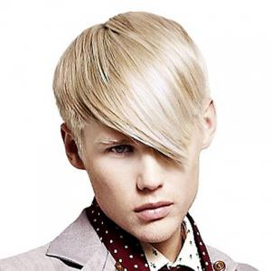 Sparkling Light Blonde Capless Short Trendy Side Bang Heat Resistant Fiber Straight Wig For Men - Light Blonde