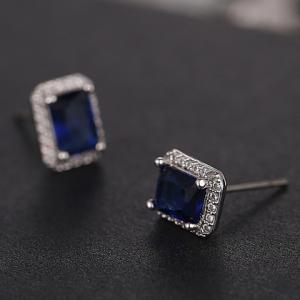 Pair of Exquisite Rhinestoned Square Earrings For Women -