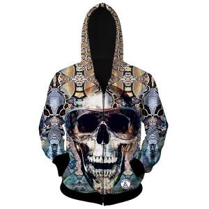 Slimming Hooded 3D Skull Pattern Long Sleeve Cotton Blend Hoodie