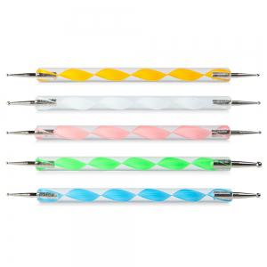 5pcs / Set Auger Pen Double Nail Drill Pen Nail Polish Art Dotting Marbleizing Pen Manicure Tools