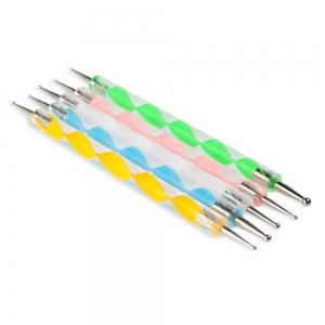 5 pcs / Set Auger Stylo Double Nail Drill Pen Vernis À Ongles Art Dotting Marble Stylo Manucure Outils -