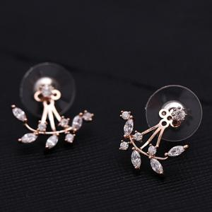 Rhinestoned Leaf Branch Earrings - ROSE GOLD