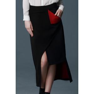 Trendy Style Color Block Irregular Hem Skirt For Women