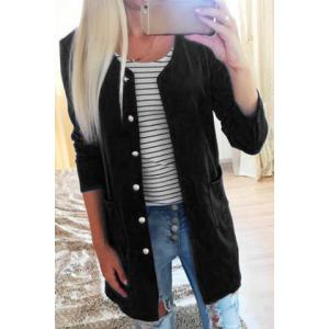 Refreshing Candy Color Single-Breasted Straight Trench Coat For Women - Black - M