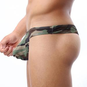 Sexy Hollow Out Low Elastic U Convex Pouch Men's Camo Thongs -