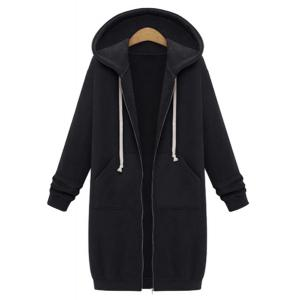 Casual Style Hooded Long Sleeve Solid Color Zip Design Women's Hoodie