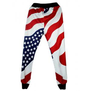 Loose Fit Modish Lace-Up Stars and Stripes Print Beam Feet Men's Cotton Blend Jogger Pants -