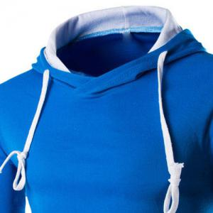 Trendy Slimming Hooded Simple Color Splicing Long Sleeve Cotton Blend Hoodie For Men -