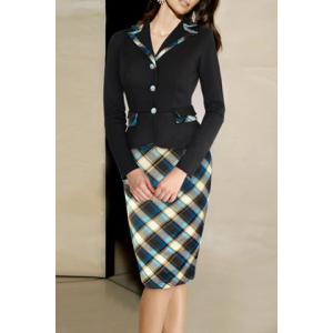 Fitted Notched Long Sleeve Plaid Dress