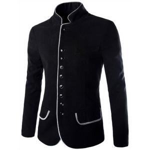 Trendy Slimming Stand Collar Single Breasted Color Block Edging Long Sleeve Woolen Blend Blazer For Men