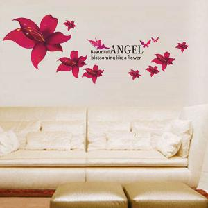 Stylish Floral Pattern Home Decoration PVC Decorative Wall Stickers -