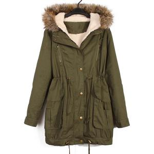 Casual Hooded Long Sleeve Pocket Design Women's Coat -