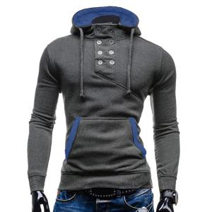 Trendy Hooded Double Breasted Pocket Hemming Slimming Long Sleeve Cotton Blend Hoodie For Men - Gray - Xl