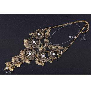 Vintage Rhinestone Hollow Out Geometric Flower Coin Tassel Necklace For Women -