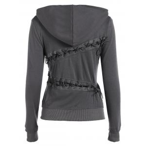 Trendy Hooded Long Sleeve Lace-Up Solid Color Women's Hoodie