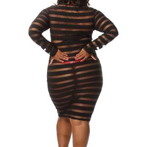 Plus Size Round Neck Stripes See-Through Long Sleeve Dress For Women -